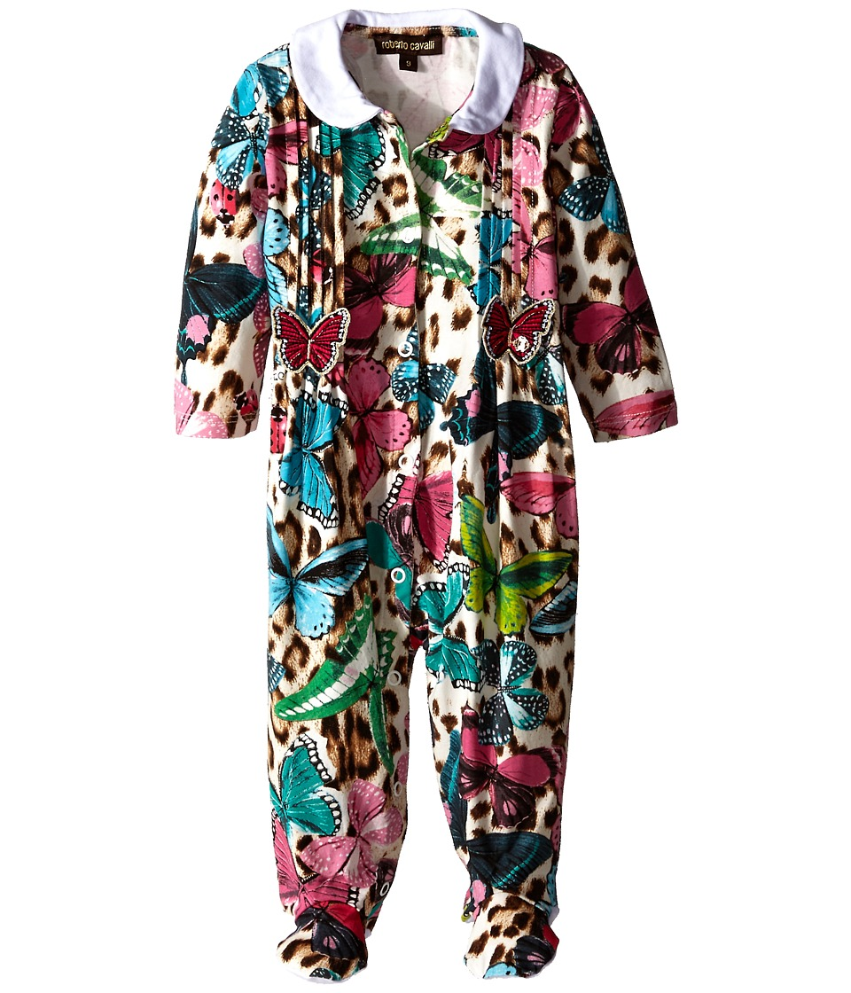 Roberto Cavalli Kids Butterfly Printed Footie Infant Multi Girls Jumpsuit Rompers One Piece