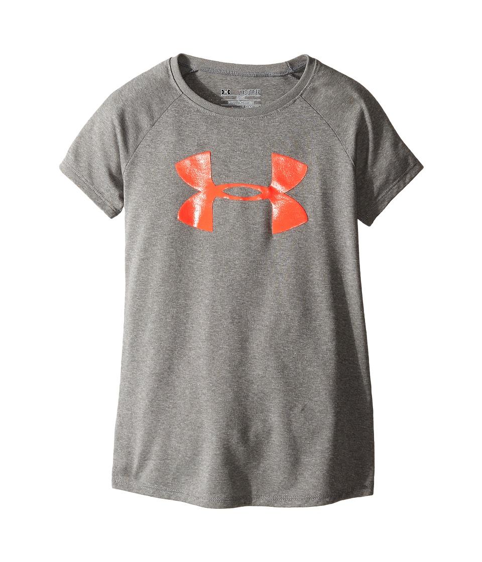 Under Armour Kids - Solid Big Logo Short Sleeve Tee (Big Kids) (True Gray Heather) Girls T Shirt