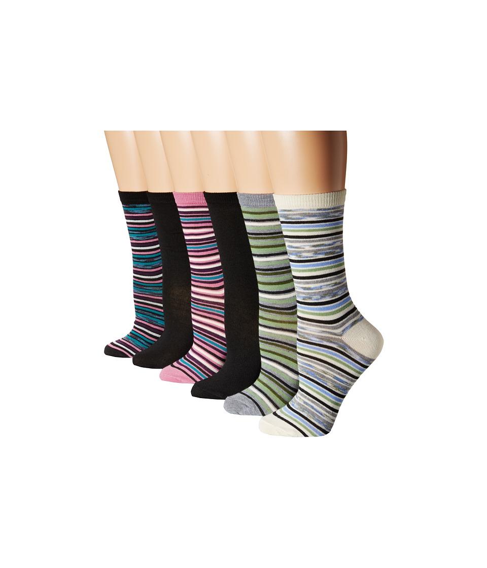 Steve Madden 6 Pack Crew Socks Black Womens Crew Cut Socks Shoes