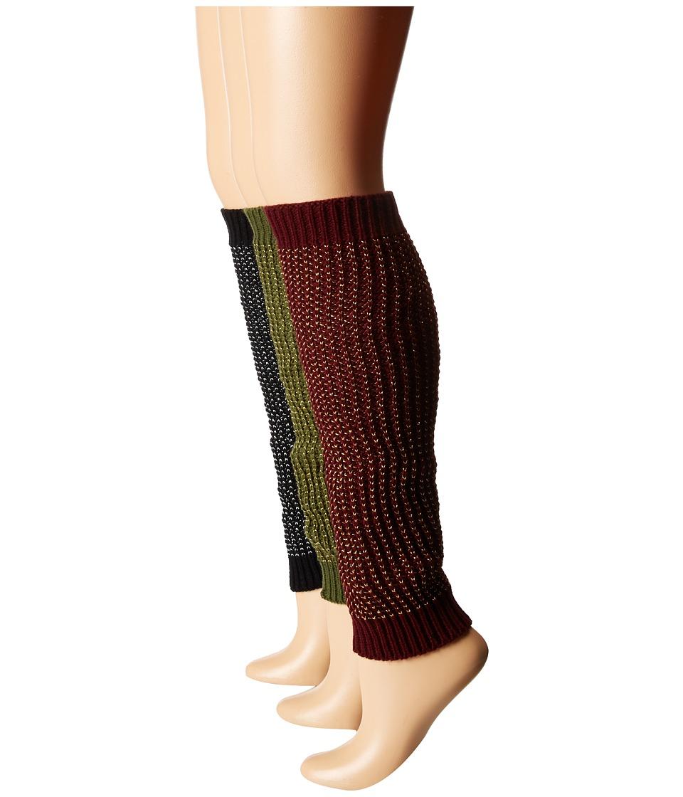 Steve Madden - 3-Pack Leg Warmer (Burgundy/Olive/Black) Women