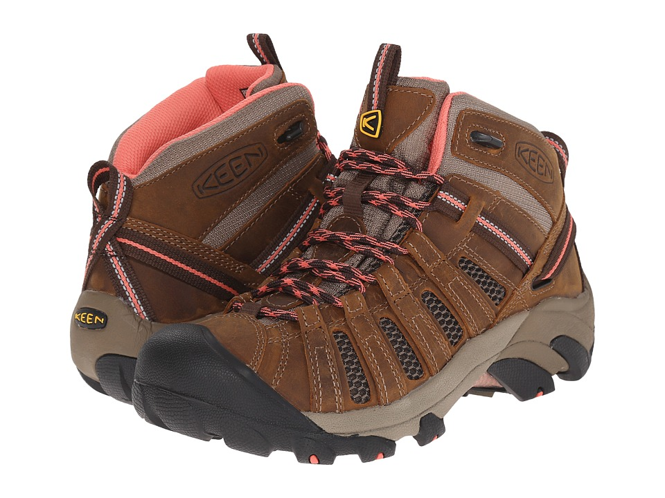 Keen Voyageur Mid (Cascade Brown/Fusion Coral) Women's Hiking Boots