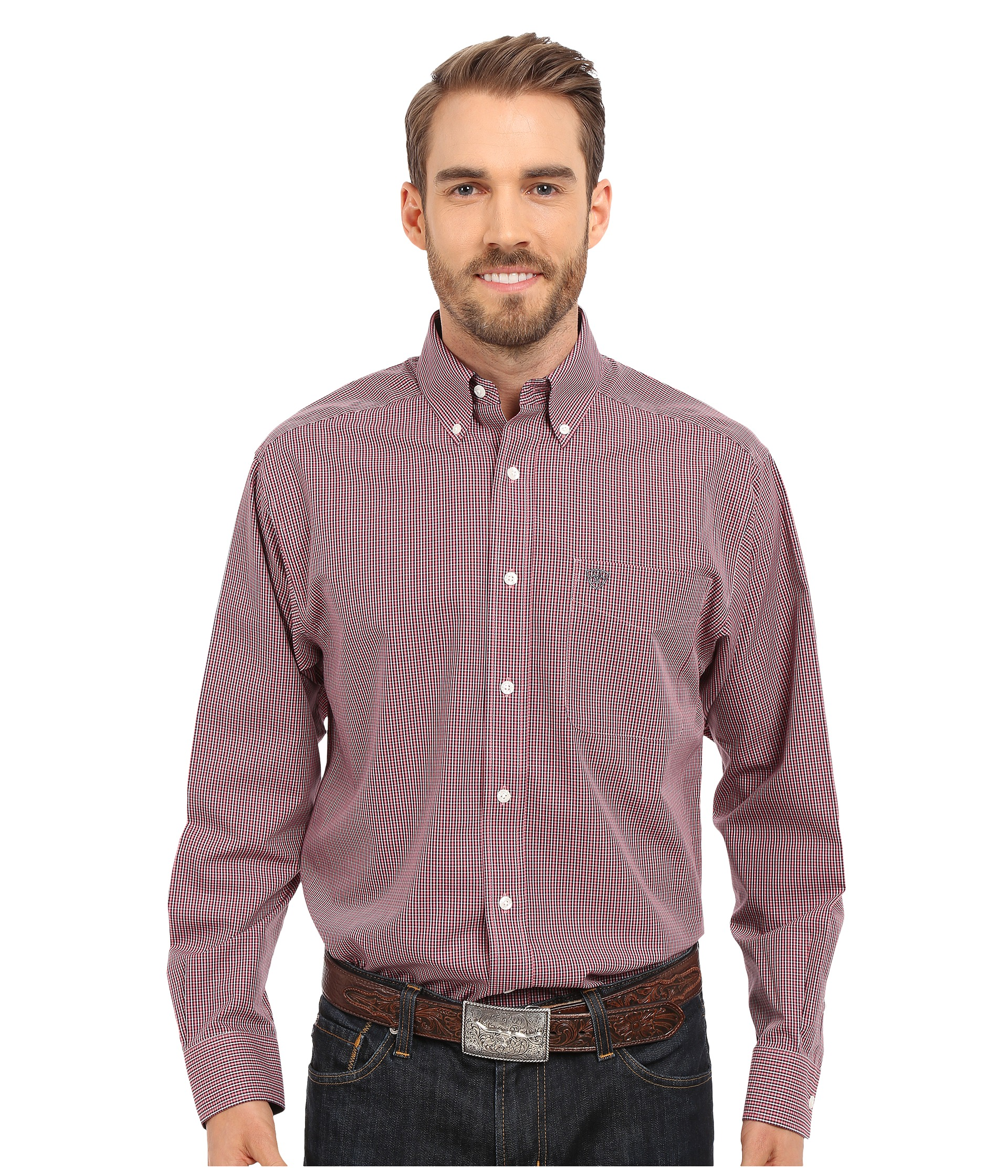 Ariat inwood wrinkle free shirt free shipping for Best wrinkle free shirts