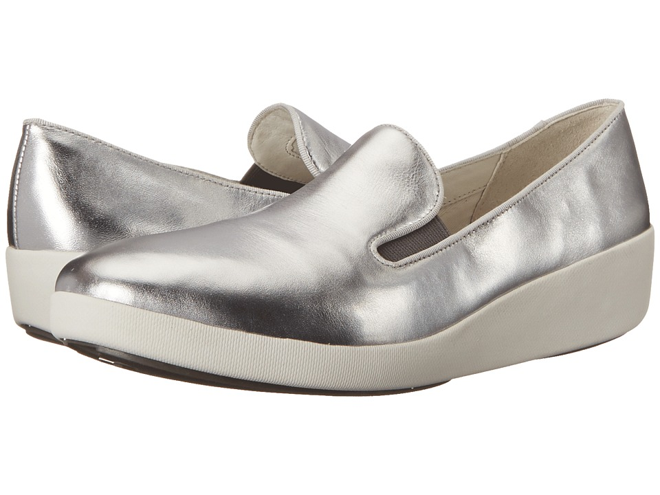 FitFlop F-Pop Skate (Silver Leather) Women