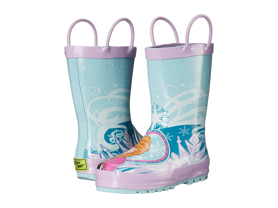 Western Chief Kids Frozen Elsa Anna Rain Boot (Toddler/Little Kid/Big Kid) (Blue) Girls Shoes