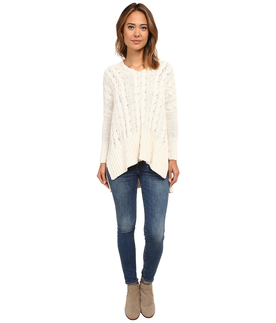 Free People Easy Cable V Ivory Womens Sweater