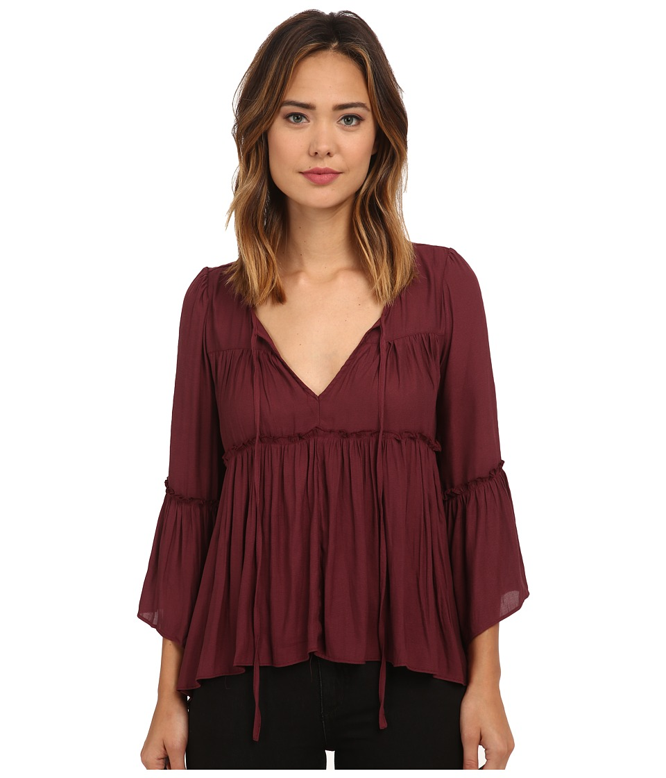 Free People Pebbled Chiffon A Few Of My Favorite Things Blouse Plum Womens Blouse