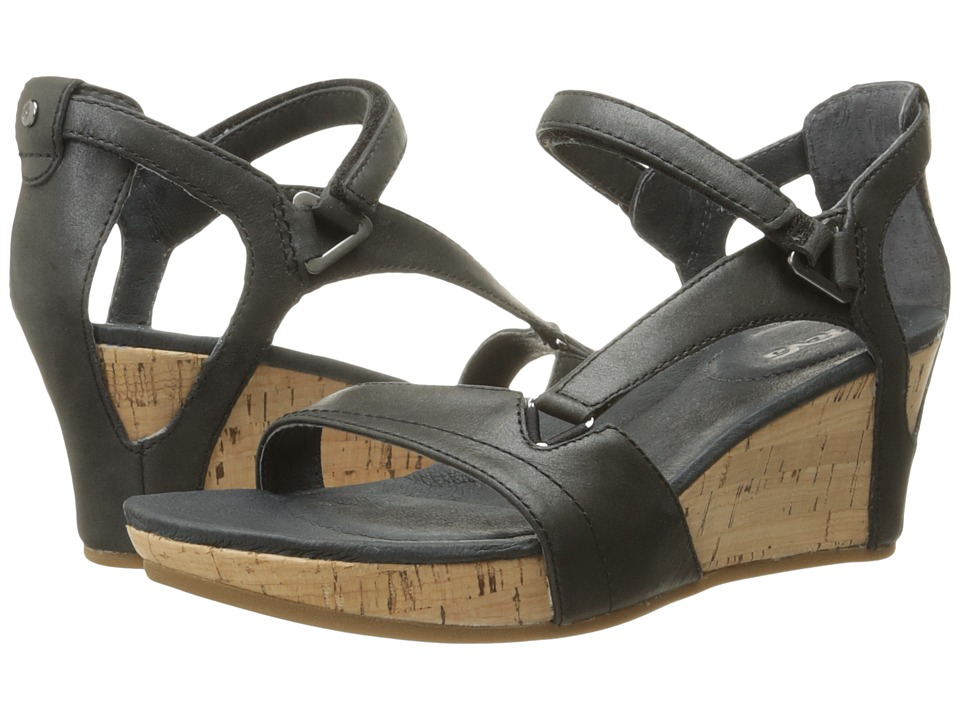 Teva Capri Wedge Pearlized Black Womens Wedge Shoes