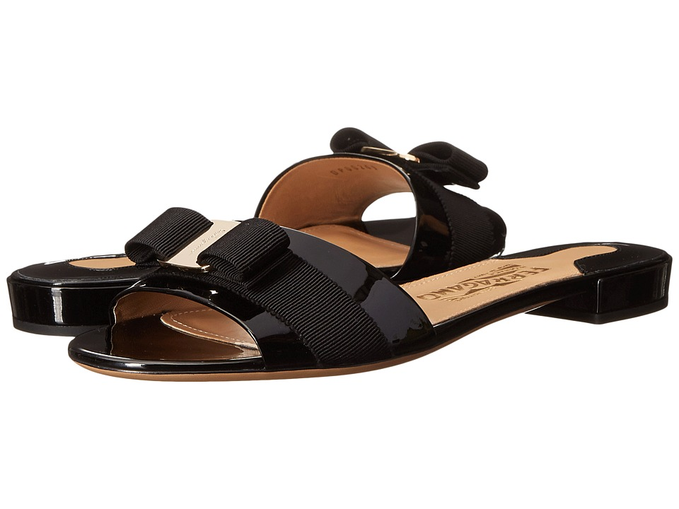 Salvatore Ferragamo Slip-on Patent Sandal (Nero Patent) Women