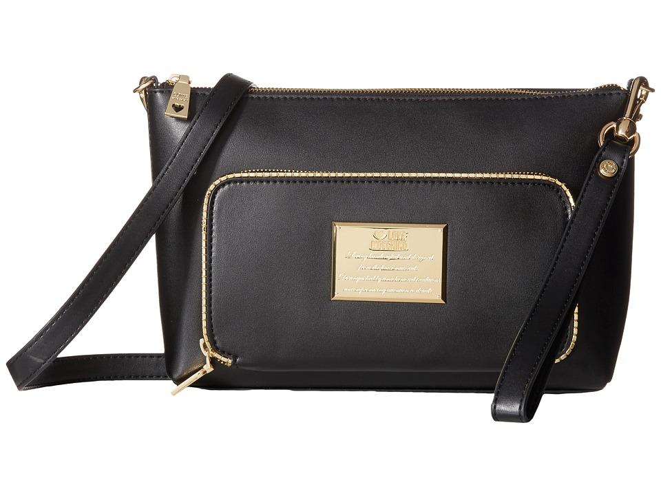 LOVE Moschino Front Plaque Crossbody Bag Black Cross Body Handbags