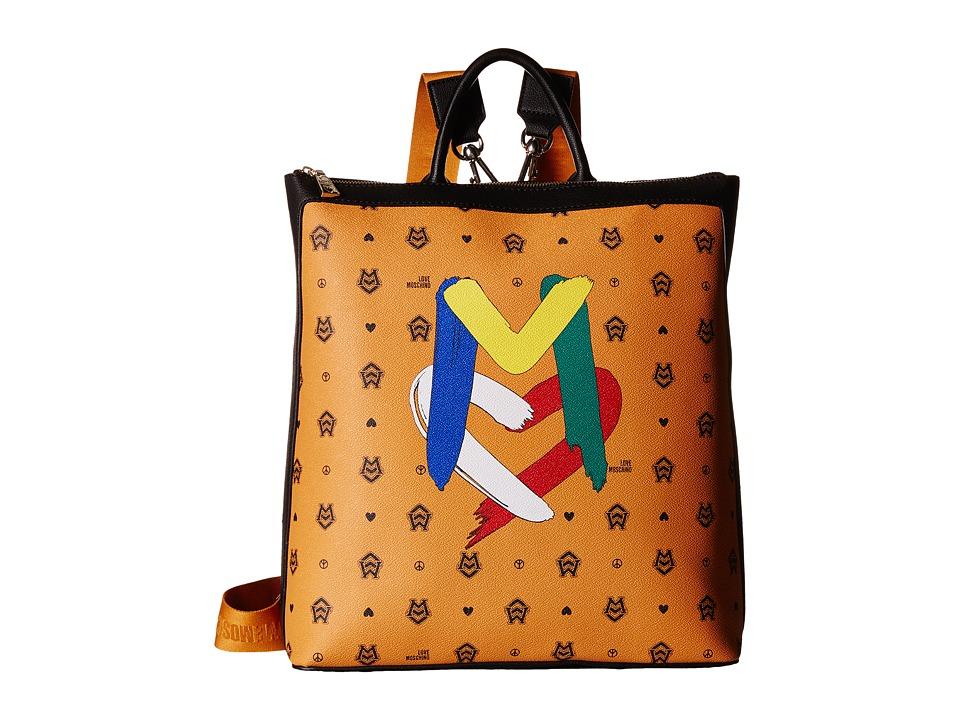 LOVE Moschino - Monogram Backpack Tote (Orange/Brown) Backpack Bags