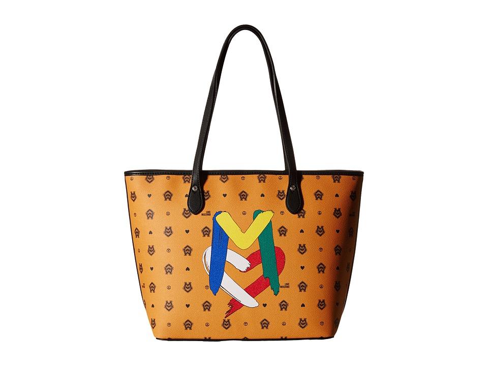 LOVE Moschino - Monogram Tote Bag (Orange/Brown) Tote Handbags