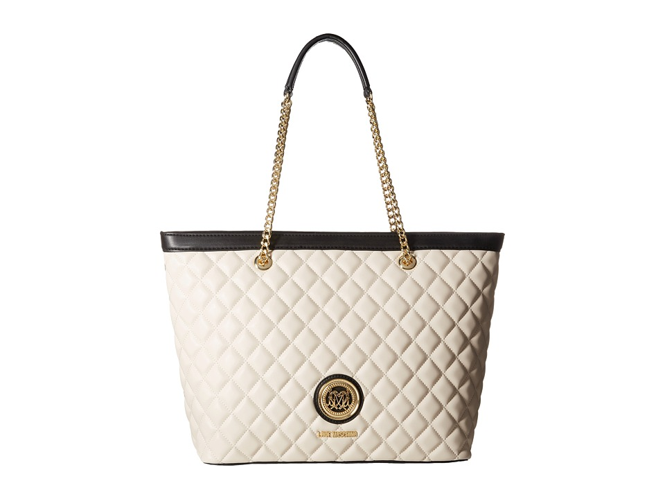 LOVE Moschino - Quilted Classic Chain Strap Tote (White/Grey) Tote Handbags