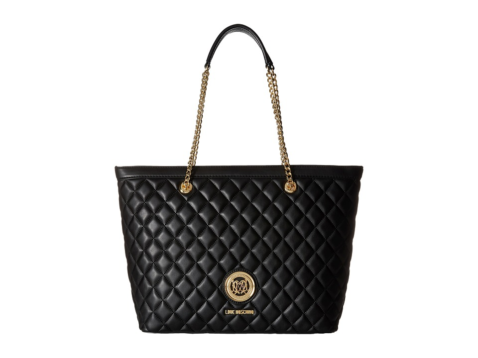 LOVE Moschino - Quilted Classic Chain Strap Tote (Black) Tote Handbags