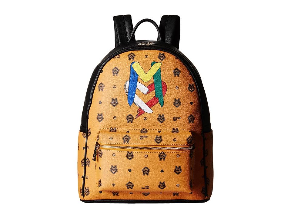 LOVE Moschino - Monogram Backpack (Orange/Brown) Backpack Bags