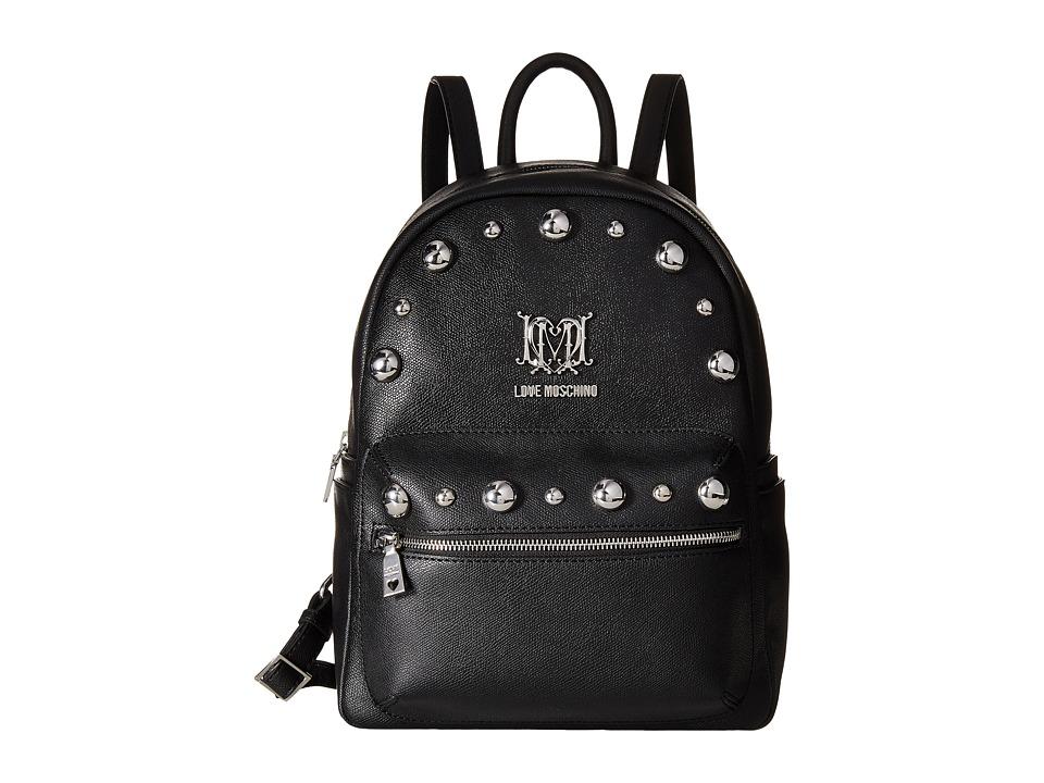 LOVE Moschino - Studs Backpack (Black) Backpack Bags