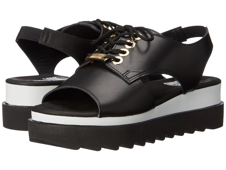 LOVE Moschino - Sandal w/ Tread Sole (Black) Women
