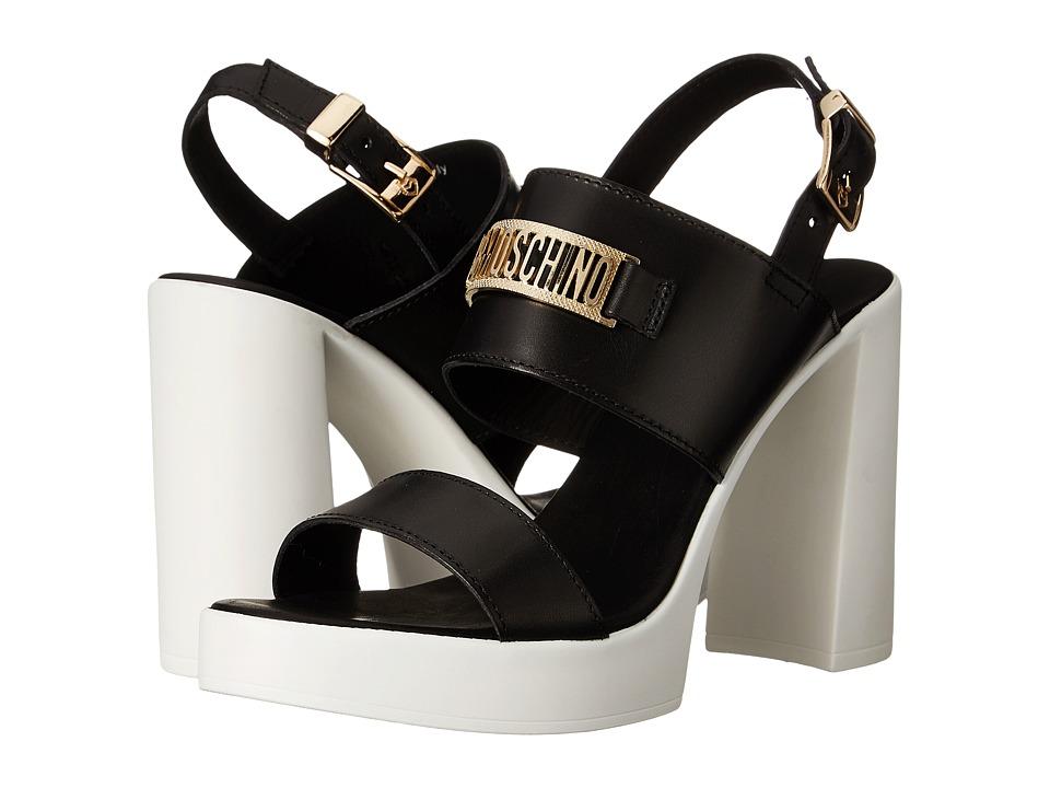LOVE Moschino Chunky Heel Sandal w/ Moschino Logo Black/White Womens Sandals