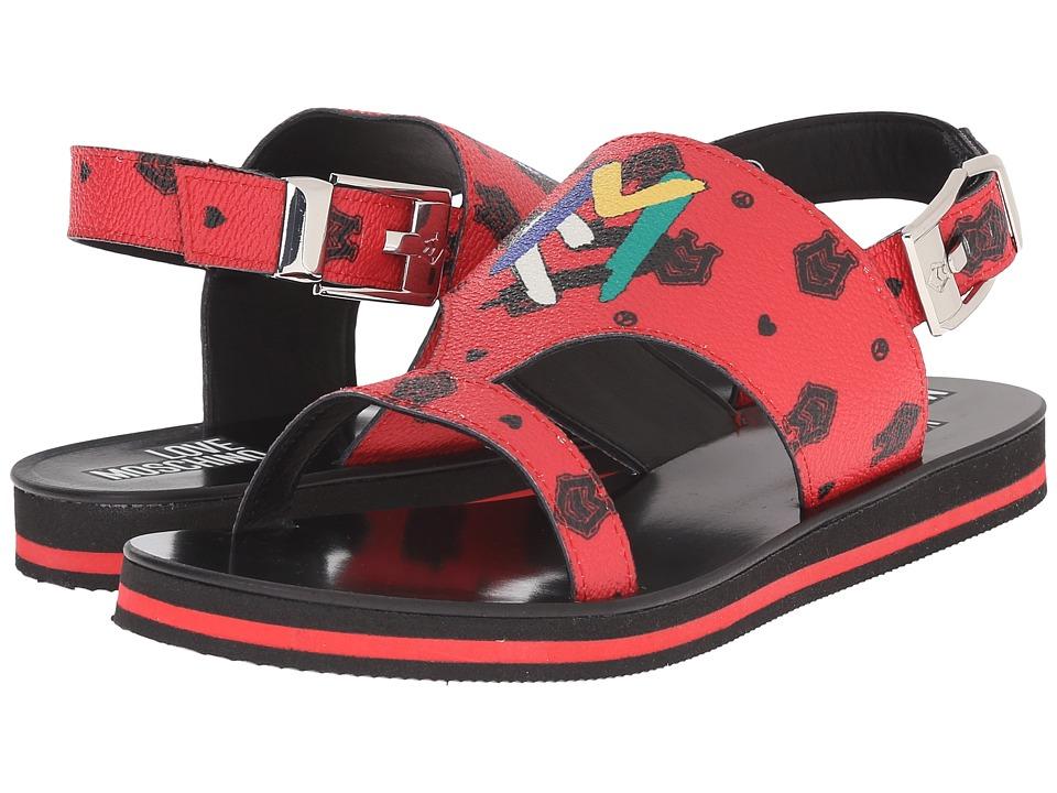 LOVE Moschino Thong Sandal w/ Logo Print Red Womens Sandals