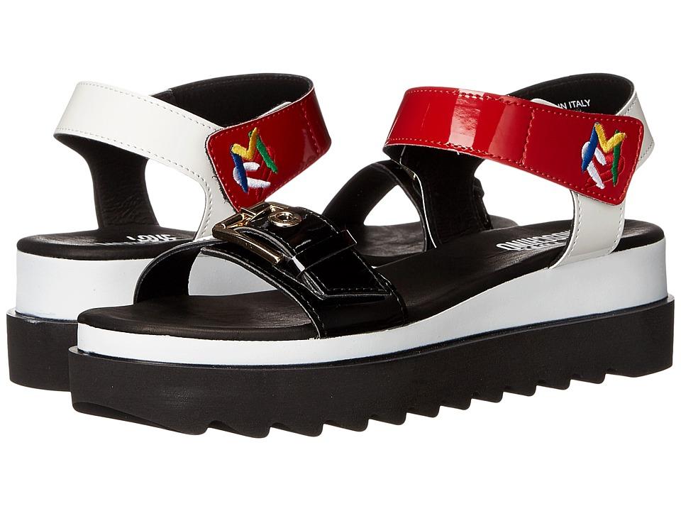 LOVE Moschino Multicolored Sandal w/ Tread Sole Red/White/Black Womens Sandals