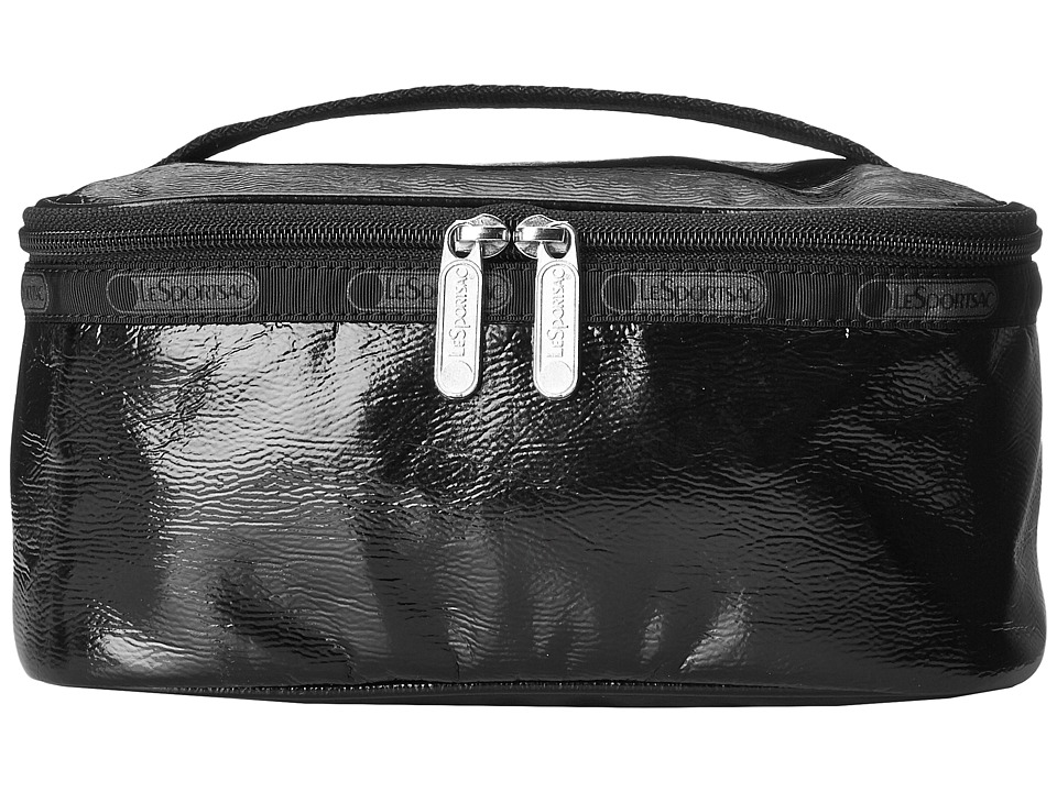 LeSportsac Luggage - Rectangular Train Case (Black Crinkle Patent) Cosmetic Case