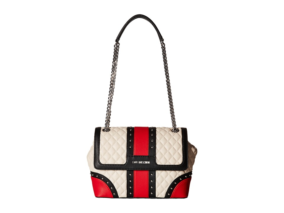 LOVE Moschino - Quilted Studded Flap Bag (White/Red) Bags