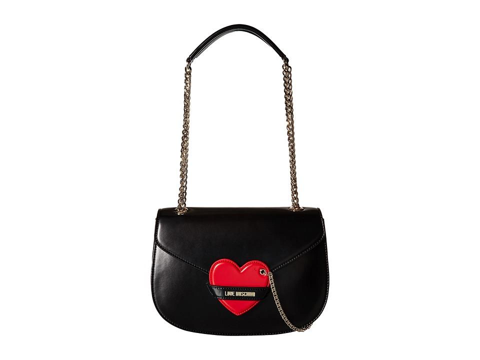 LOVE Moschino Detachable Heart Flap Bag Black/Red Shoulder Handbags