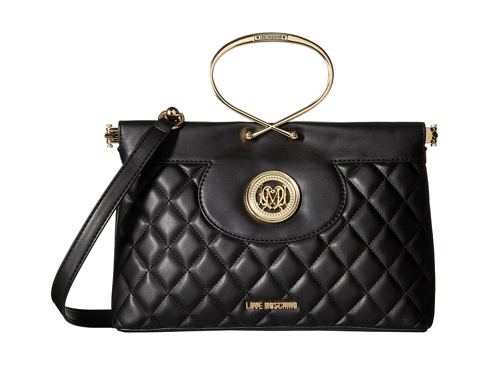 LOVE Moschino - Quilted Flap Bag (Black) Bags