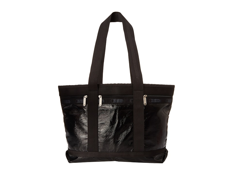 LeSportsac Luggage - Medium Travel Tote (Black Crinkle Patent) Tote Handbags