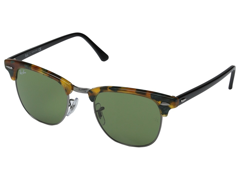 Ray Ban Clubmaster 49mm Havana Spotted Green Fashion Sunglasses