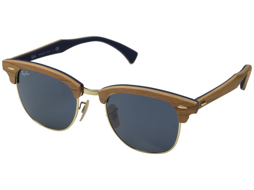 Ray Ban Clubmaster 51mm Cherry Wood/Rubber Blue Fashion Sunglasses