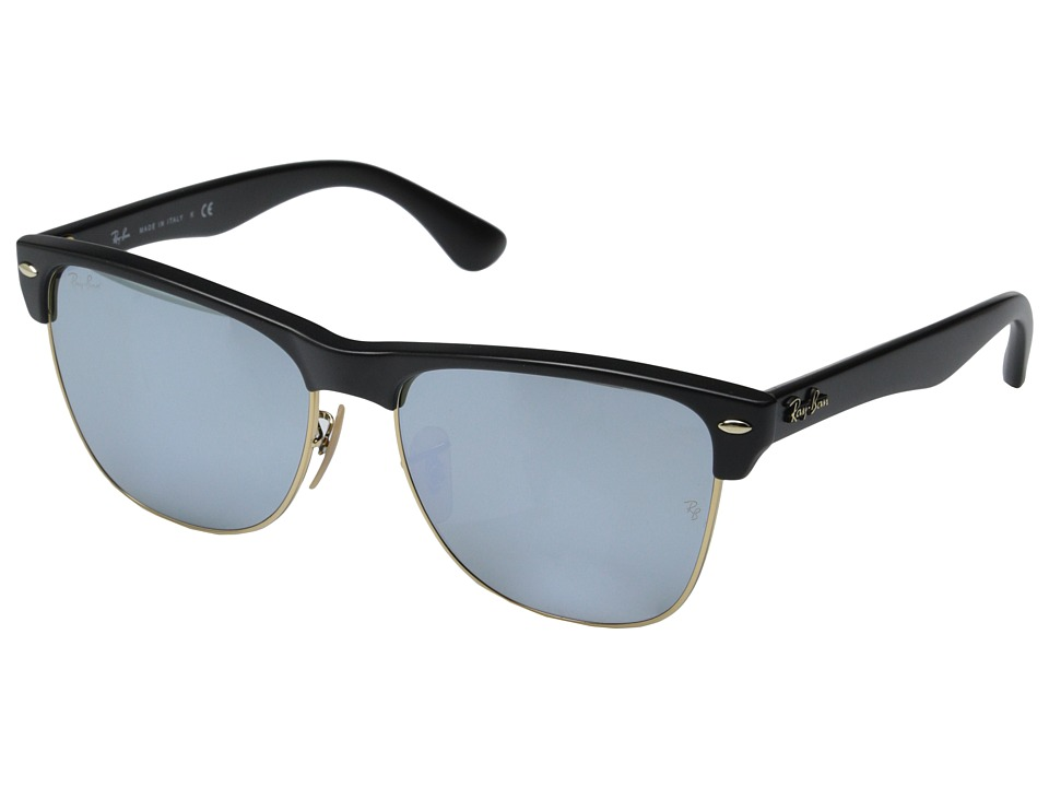 Ray Ban Clubmaster Oversized 57mm Black Green Mirror Silver Fashion Sunglasses