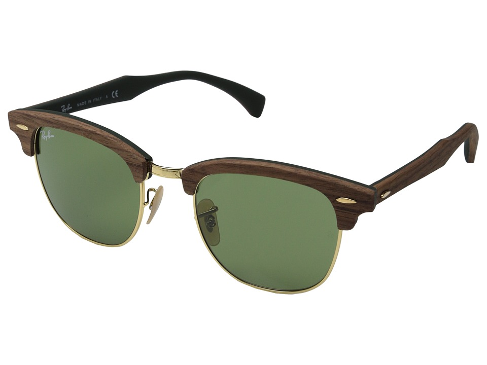 Ray Ban Clubmaster 51mm Walnut Wood/Rubber Green Fashion Sunglasses