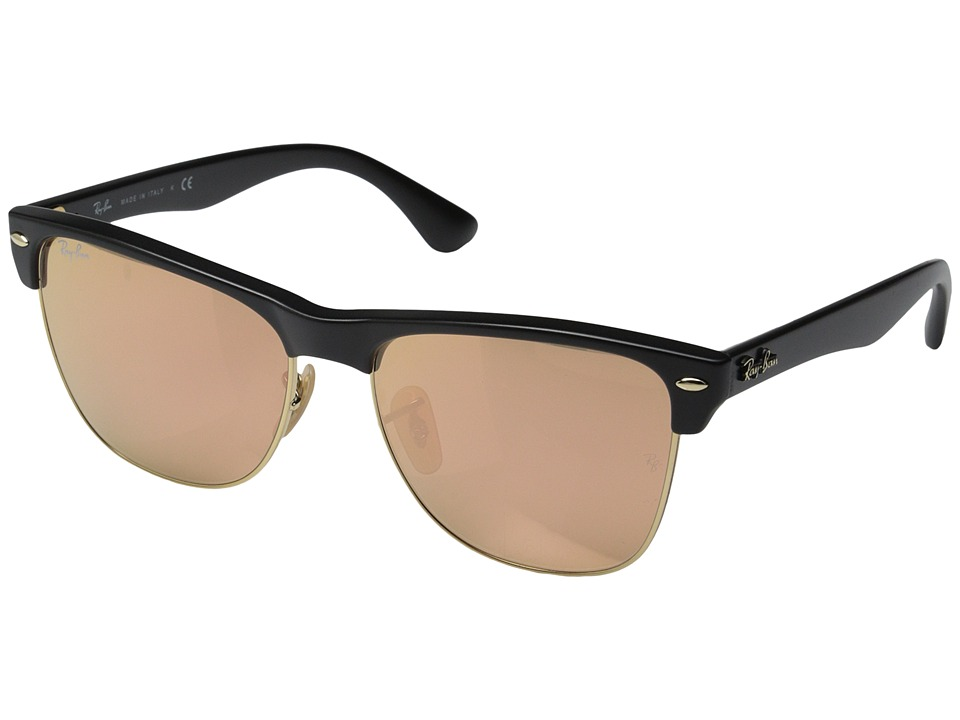 Ray Ban Clubmaster Oversized 57mm Black Brown Mirror Pink Fashion Sunglasses