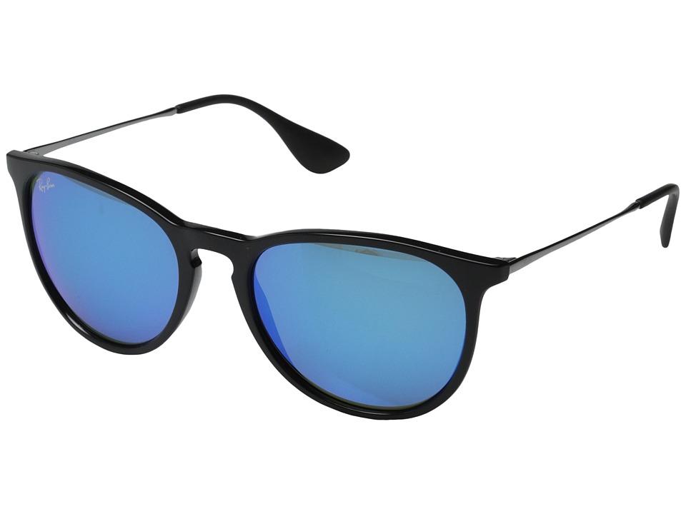 Ray Ban Erika Black Green Mirror Blue Plastic Frame Fashion Sunglasses