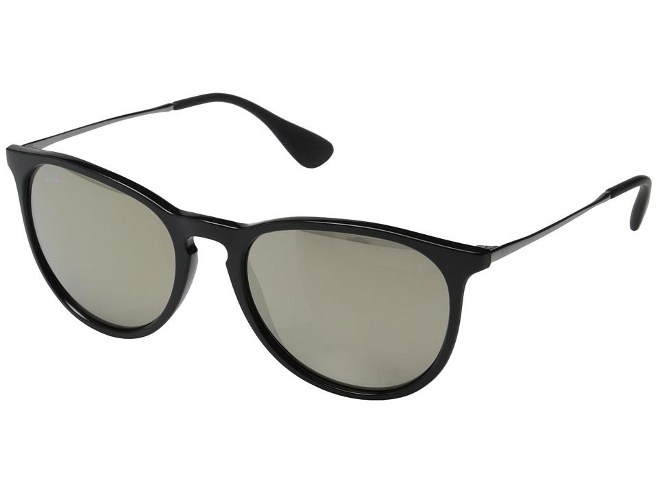 Ray Ban Erika Black Brown Mirror Gold Plastic Frame Fashion Sunglasses