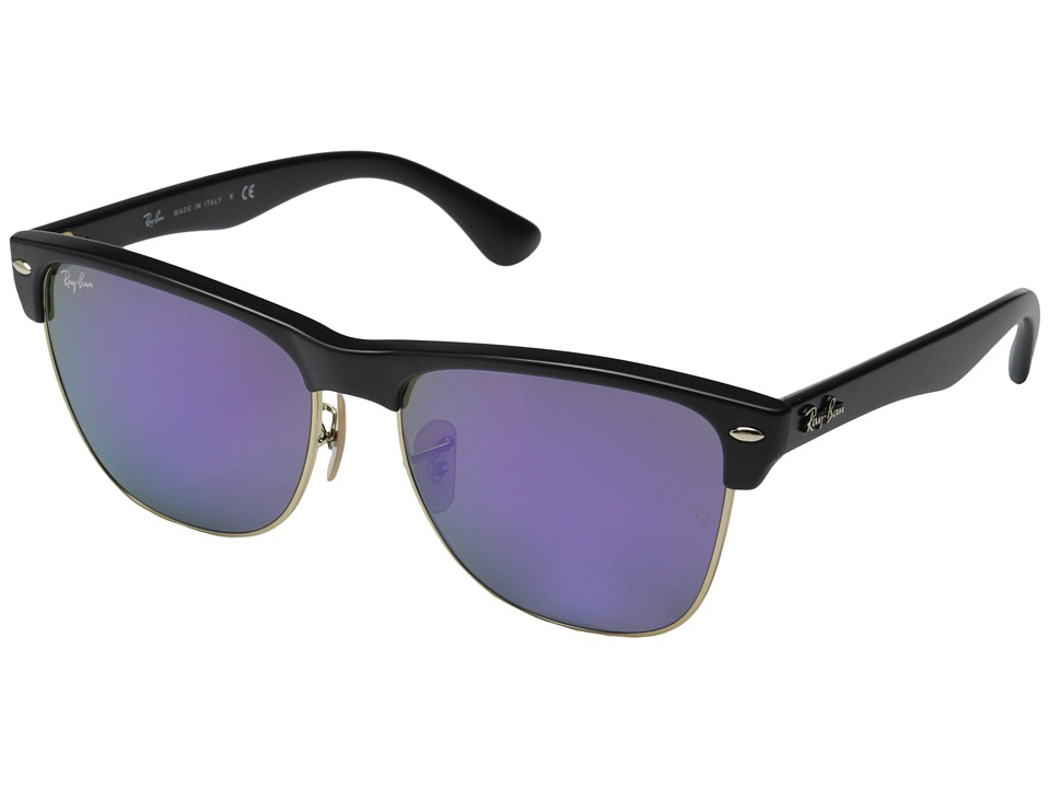 Ray Ban Clubmaster Oversized 57mm Black Grey Mirror Purple Fashion Sunglasses