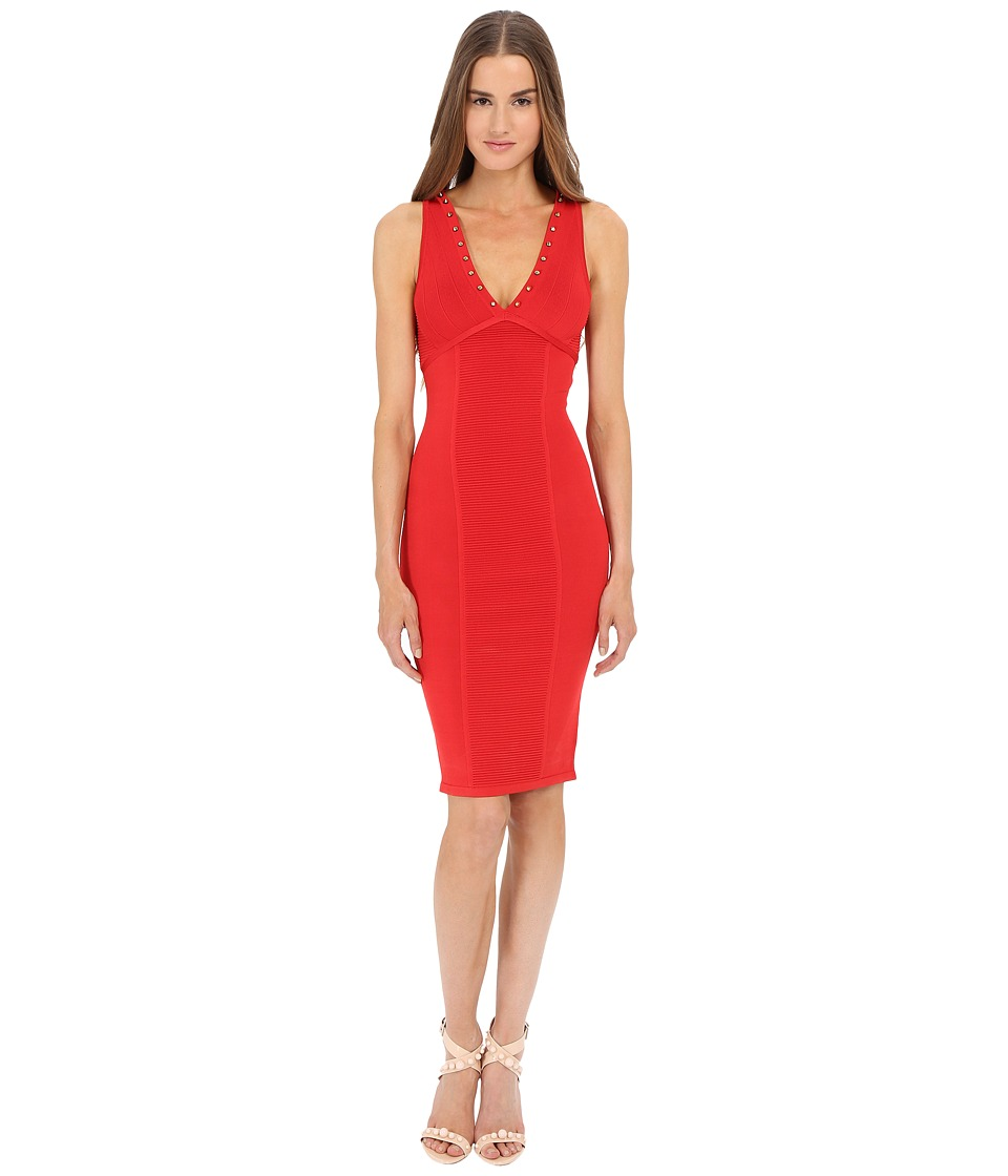 Versace Collection V Neck Knit Dress Red Womens Dress