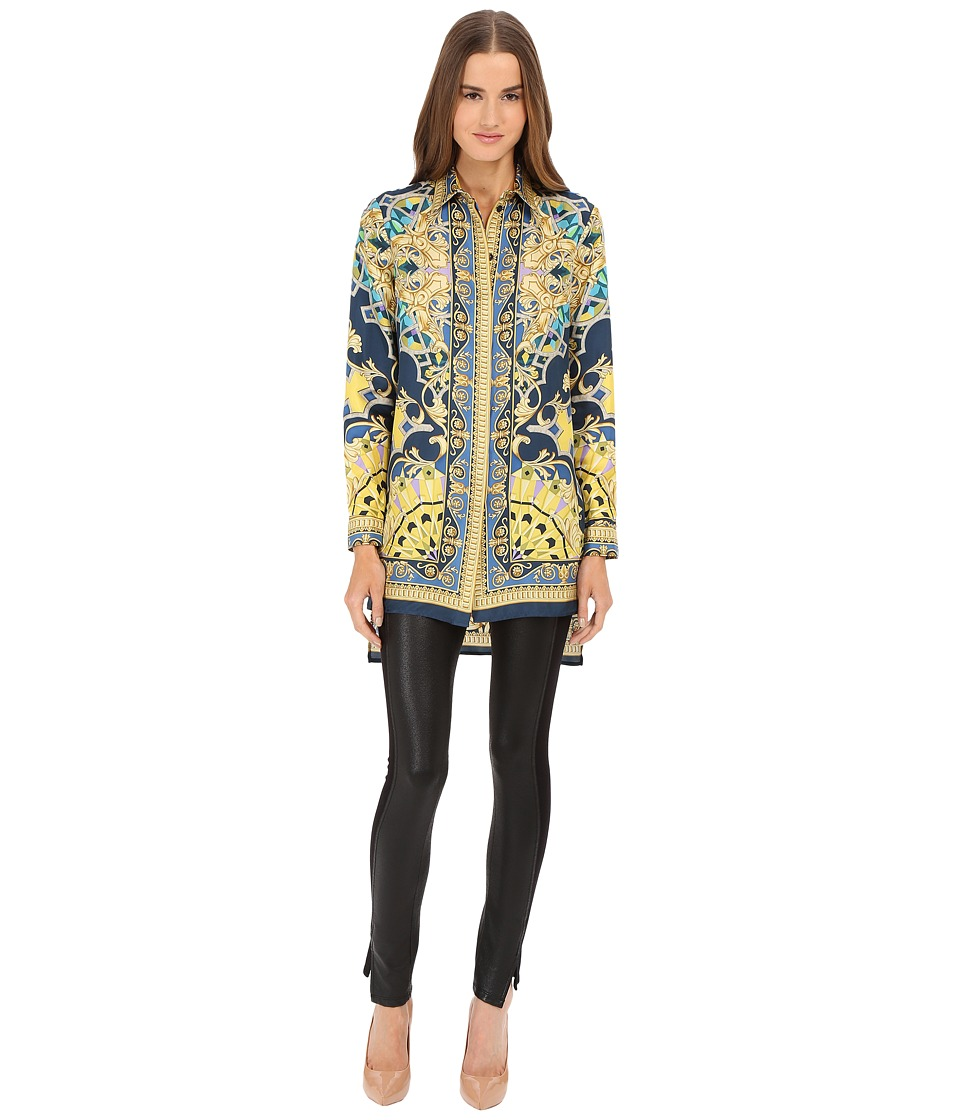 Versace Collection Blue Patterened Silk Stamped Top Multi Womens Blouse