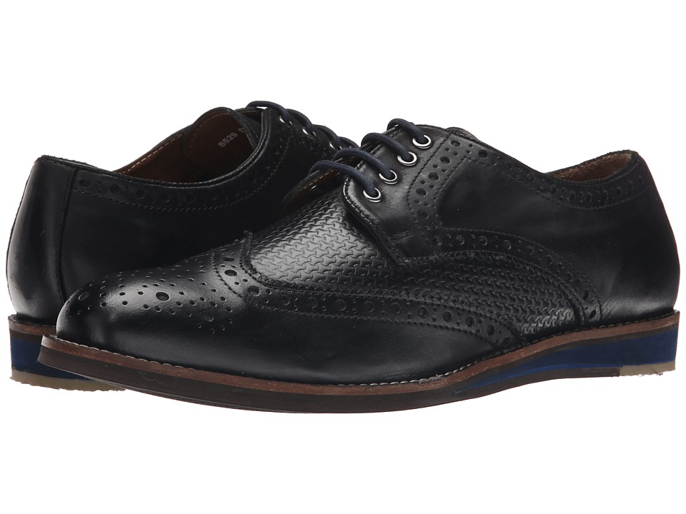 Lotus Downey Black Leather Mens Lace Up Wing Tip Shoes