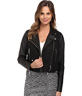 MICHAEL Michael Kors - Cotton Leather Crop Moto Jacket