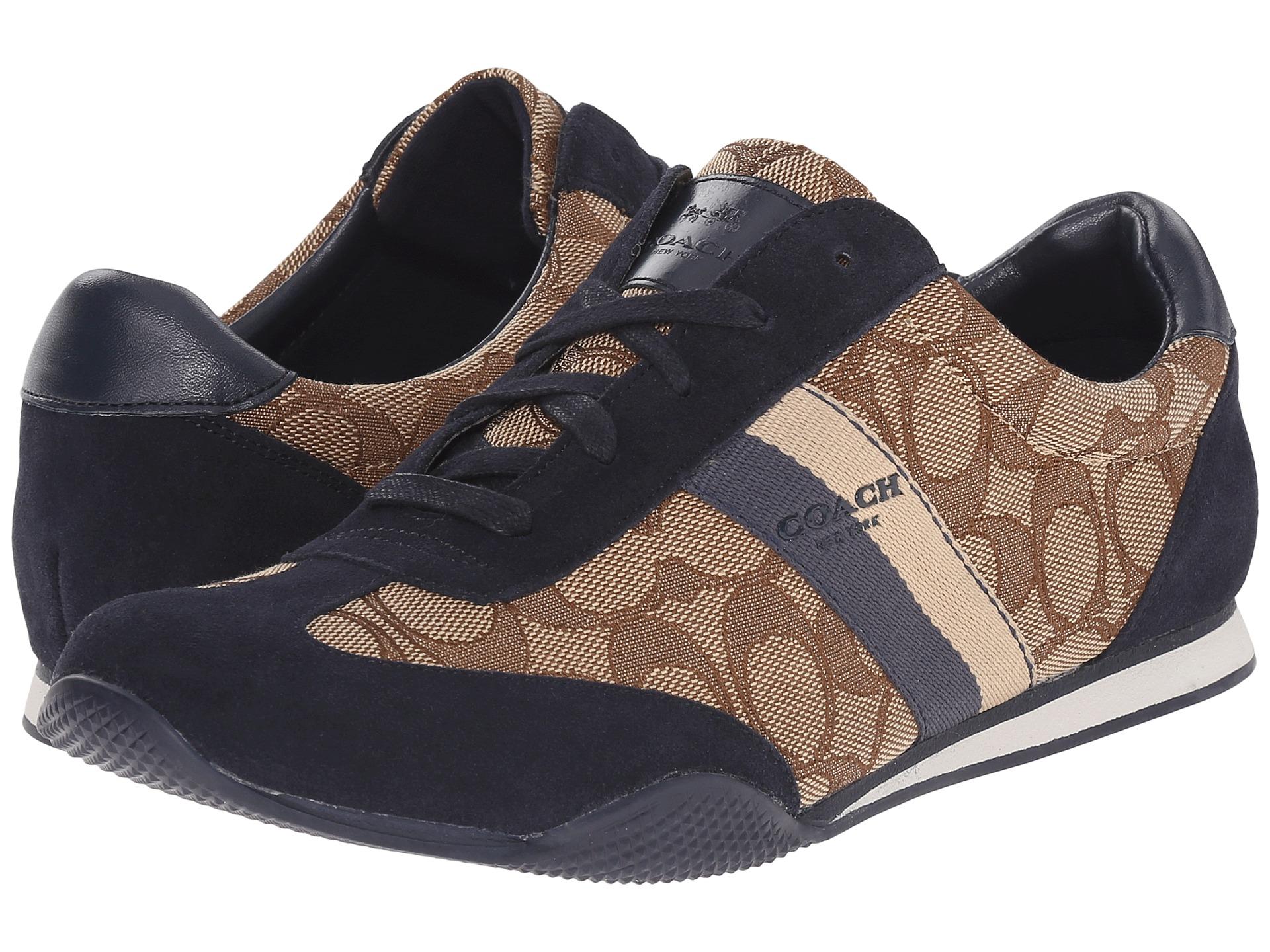 코치 켈슨 아웃라인 스니커즈 시그니처 카키 네이비 스웨이드 COACH Kelson Outline Sneakers Khaki Midnight Navy