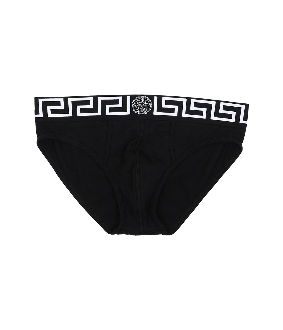 Versace - Iconic Brief with Black and White Band (Black) Men's Underwear