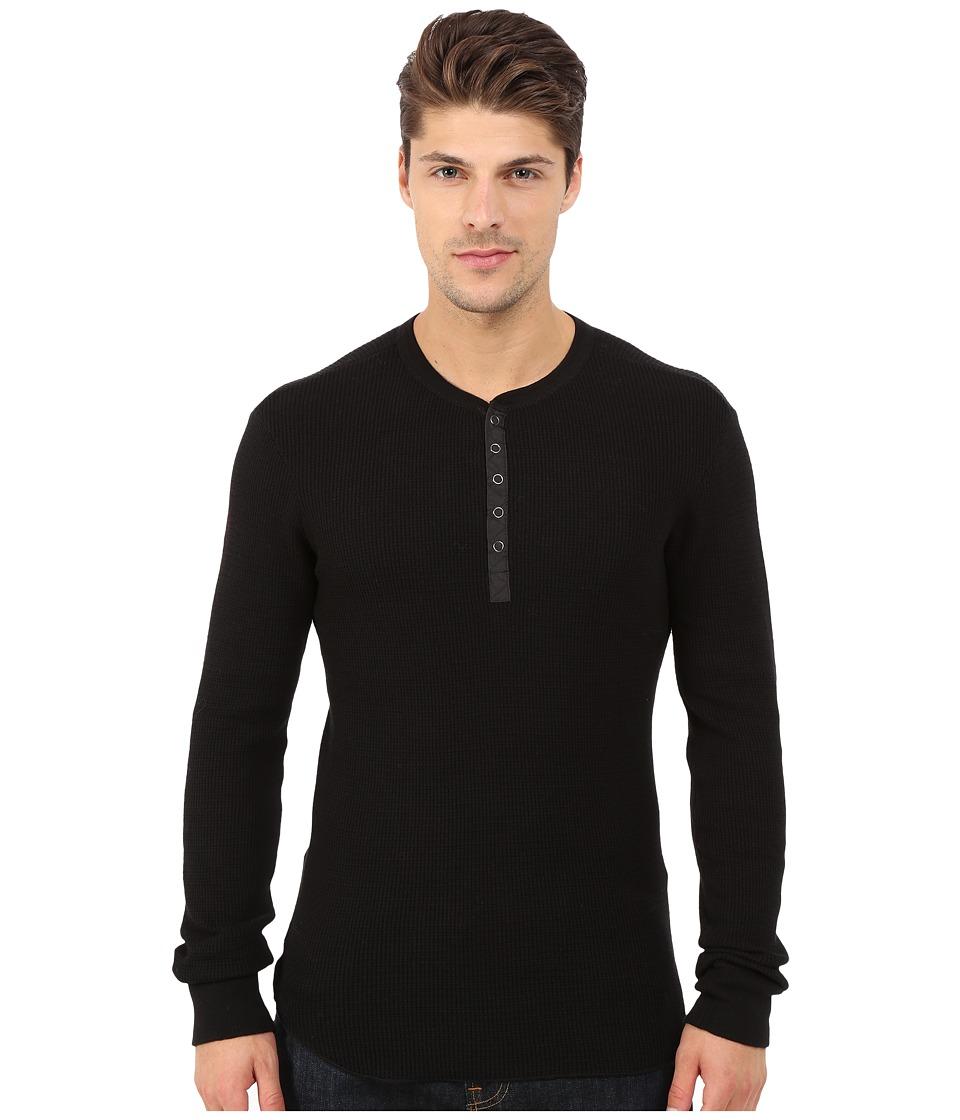 Howe Tokyo Long Sleeve Knit Henley Black Mens Clothing