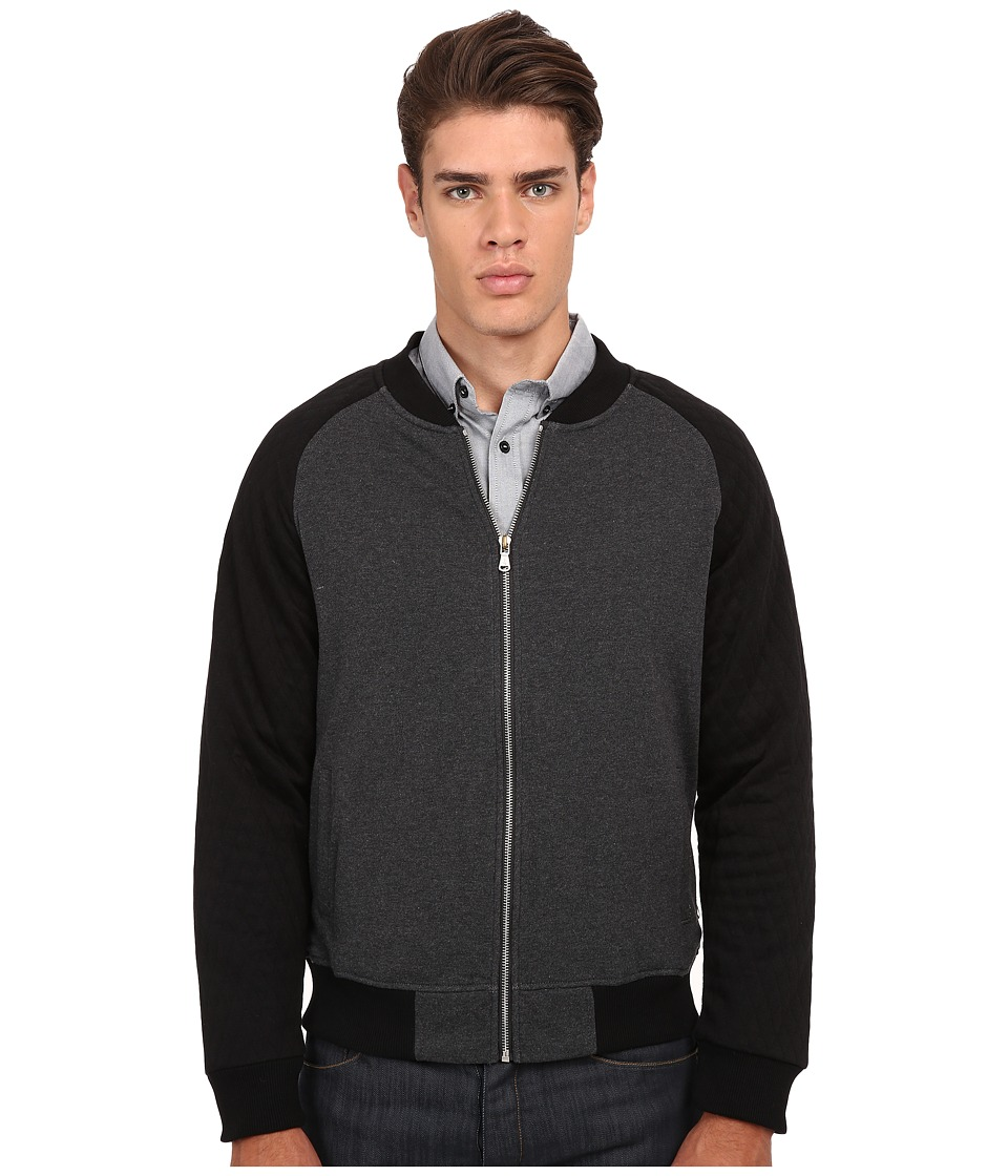 Howe White Lie Knit Fleece Zip Up Charcoal Grey Heather Mens Clothing