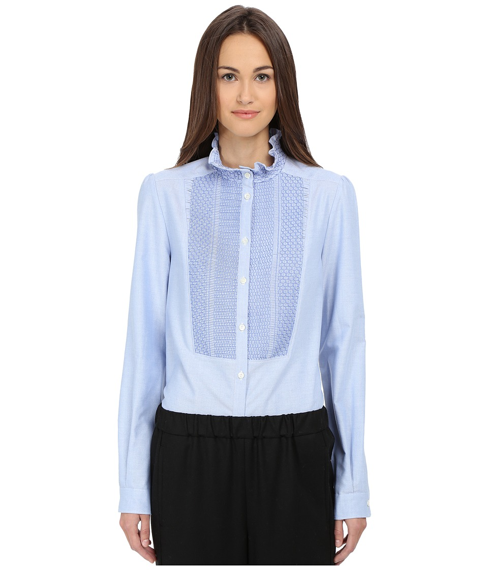 See by Chloe - Oxford Smock Top Blue Womens Long Sleeve Button Up $320.00 AT vintagedancer.com