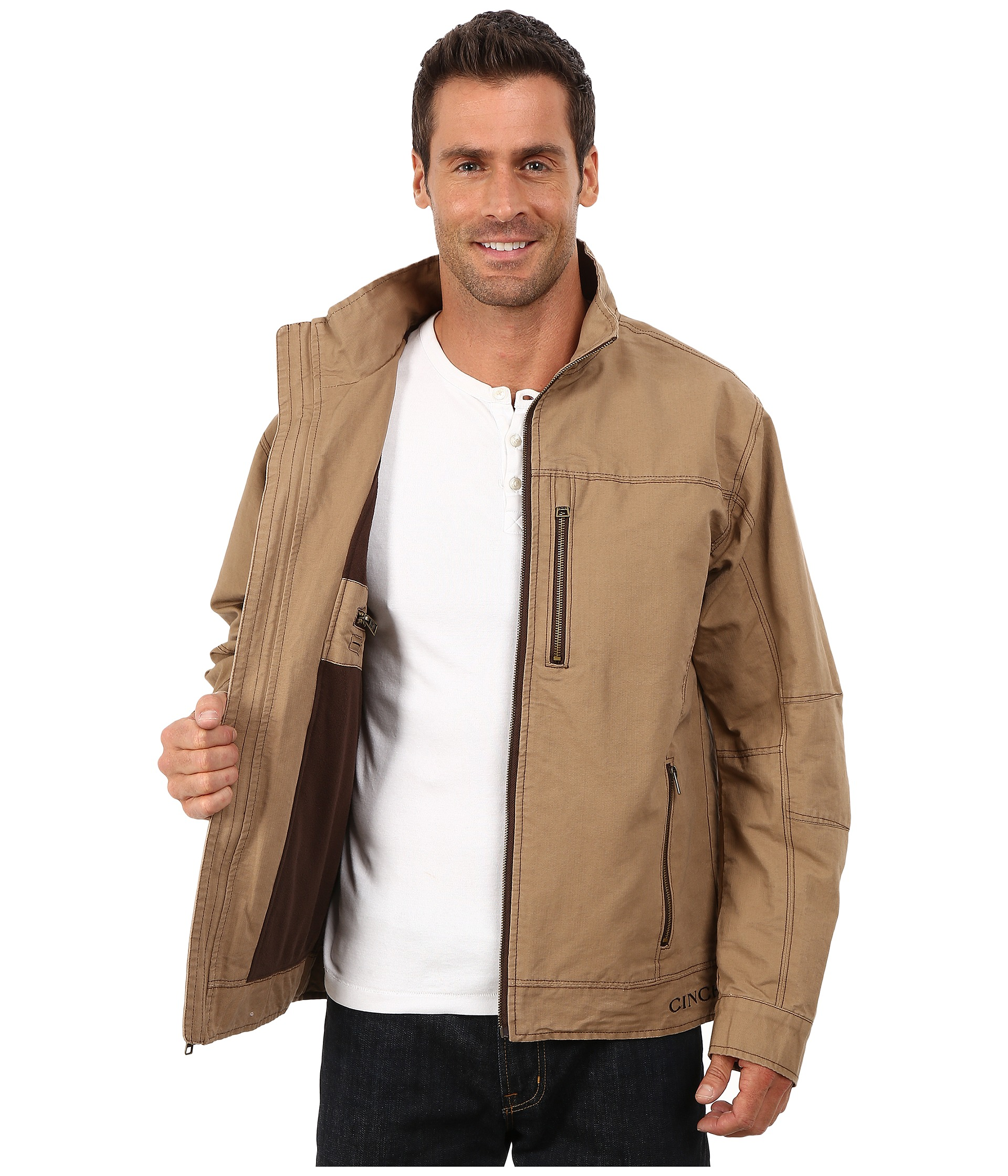 cinch twill canvas jacket Governmental Organization Logos Clothing Brand Logo with Yellow and Black Hand