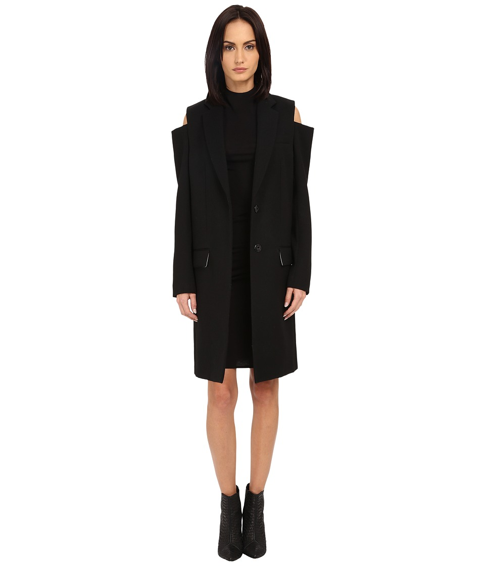 Vera Wang Single Breasted Reefer Coat Black Womens Coat