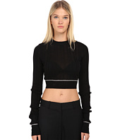 Vera Wang - Ribbed Longsleeve Cropped Pullover Top