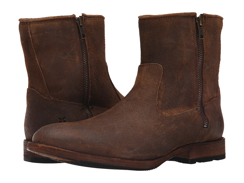 Frye - Ethan Double Zip (Tan Waxed Suede) Men