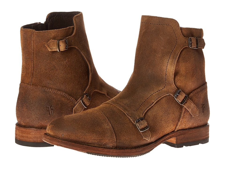 Frye - Ethan Triple Monk (Tan Waxed Suede) Men